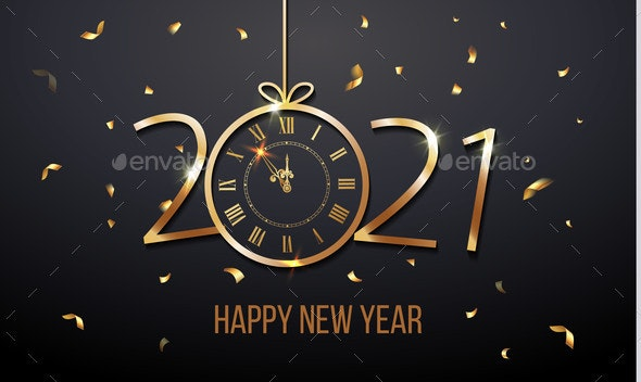 Happy New Year 2021 and Christmas Card with Golden - New Year Seasons/Holidays