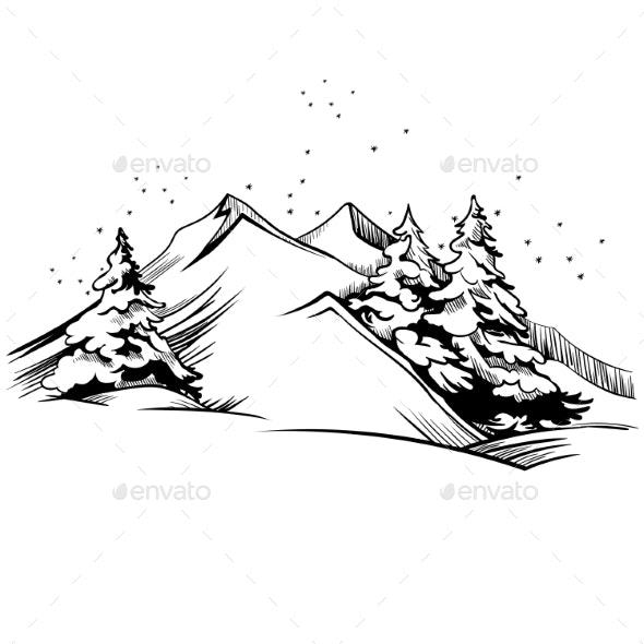 Mountain Winter Landscape Illustration. Vector - Miscellaneous Vectors