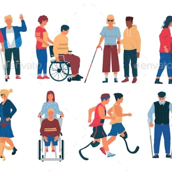 Disabled Peoples with Friends. Men and Women