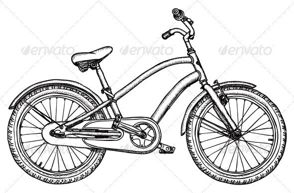 Old bicycle - vector rough drawing - Retro Technology