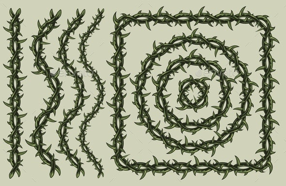 Green barbed wire vintage pattern brush - Miscellaneous Vectors