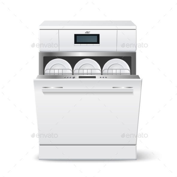 Vector Realistic Kitchen Dishwasher with Display a - Objects Vectors