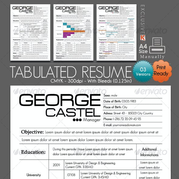 Tabulated Resume (03 Different Versions)