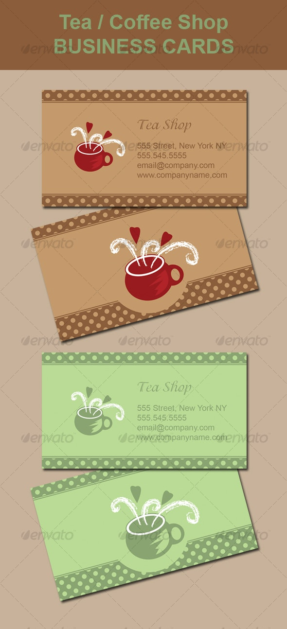 Tea / Coffee Shop Business Card - Industry Specific Business Cards
