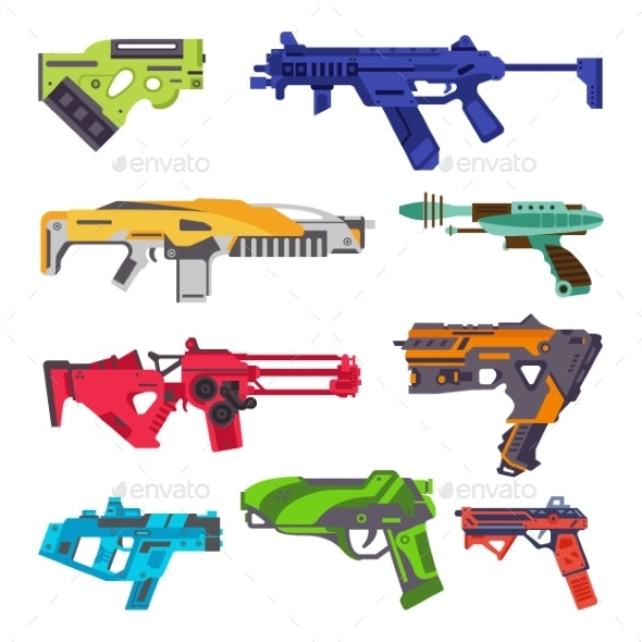 Set Colorful Space Blasters or Fancy Ray Gun - Man-made Objects Objects