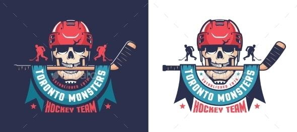 Retro Skull Hockey Emblem Hockey Team Mascot - Miscellaneous Vectors