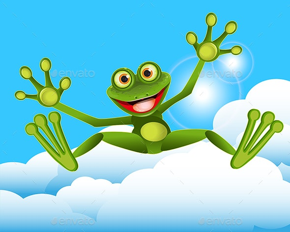 Stock Illustration of a Green Frog Jumping - Animals Characters
