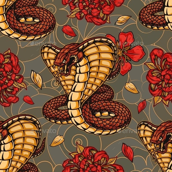 Colorful Vintage Japanese Seamless Pattern - Miscellaneous Vectors