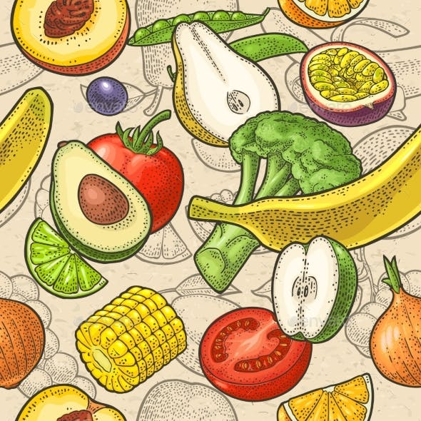 Seamless Pattern Fruits and Vegetable