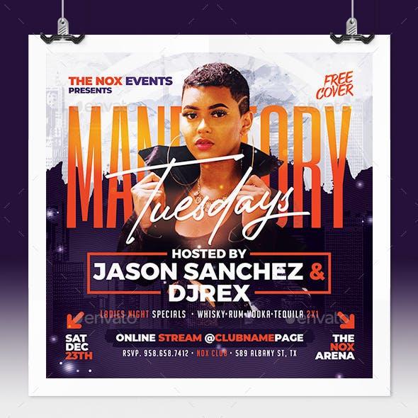 Mandatory Tuesdays - Urban Party Flyer