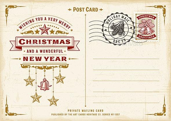 Vintage Christmas Typography Postcard - Christmas Seasons/Holidays