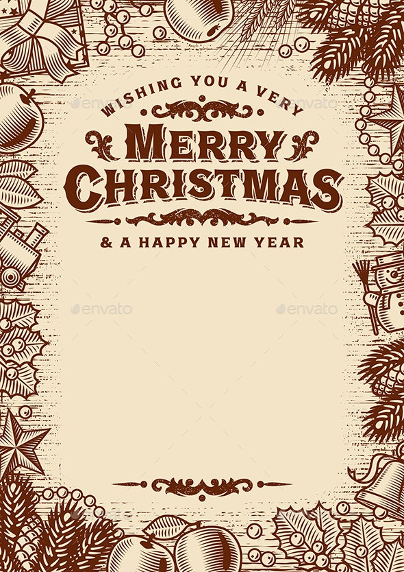 Vintage Merry Christmas Greeting Card With Copy Space Brown - Christmas Seasons/Holidays