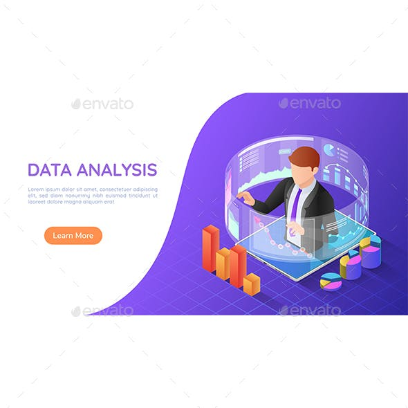 Isometric Web Banner Businessman on Tablet with Virtual Analytical Business Reports