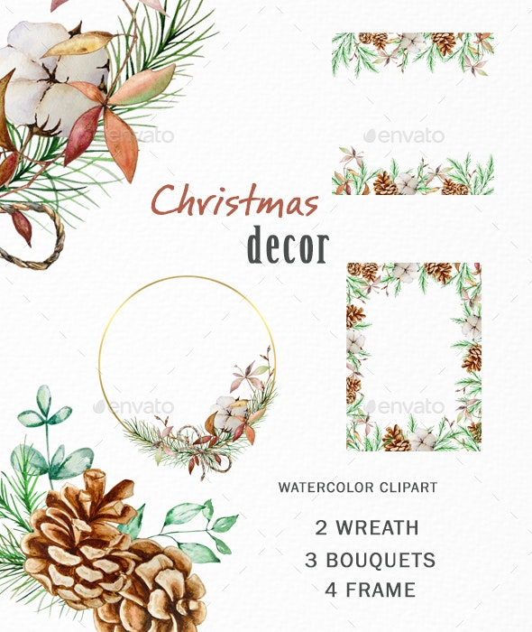 Christmas Greenery Decor Watercolor Wreath Clipart PNG - Illustrations Graphics