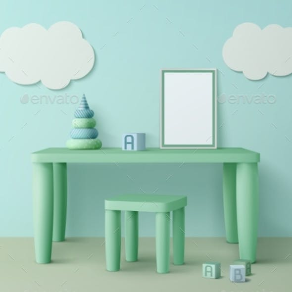 Kids Table with Poster Mockup, Chair and Toy Cubes
