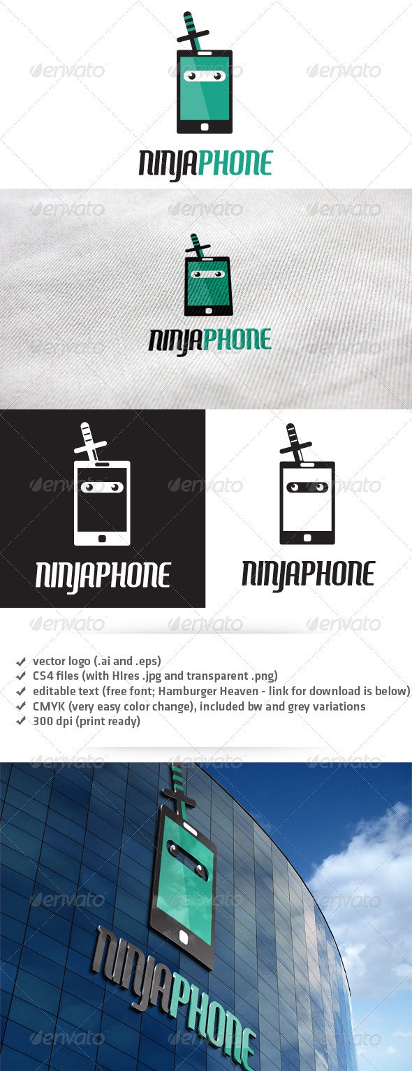 Ninja Phone Logo - Objects Logo Templates