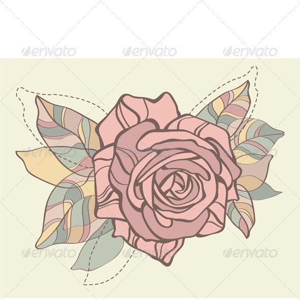 Retro card with vector stylized rose