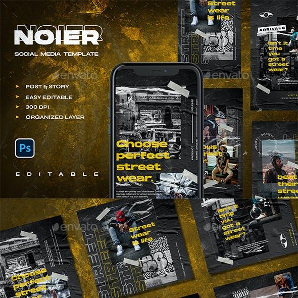 NOIER - STreetwear Instagram Stories & Post Template