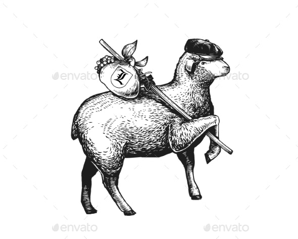Stylized Illustration of the Vagabond Sheep - Animals Characters