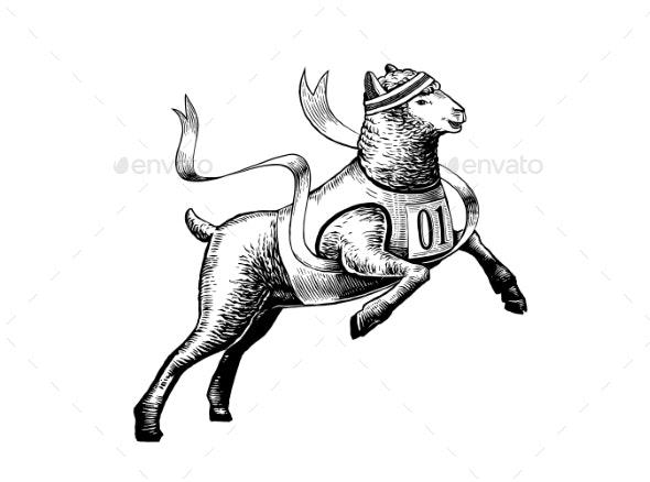 Illustration of the Sheep Runing Marathon - Animals Characters