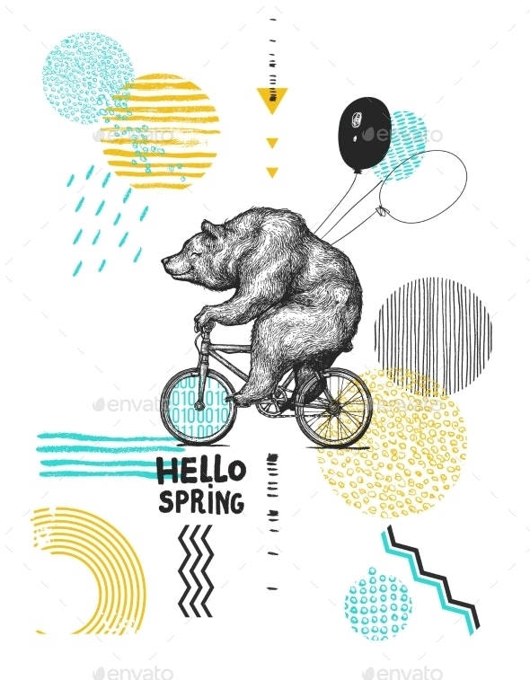 Bear Bicycle - Animals Characters