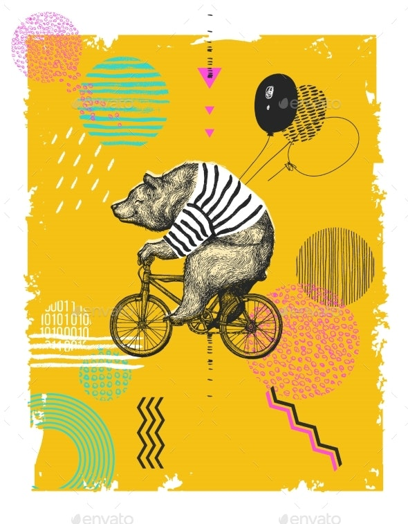 Bear with Balloons Rides Bicycle - Animals Characters