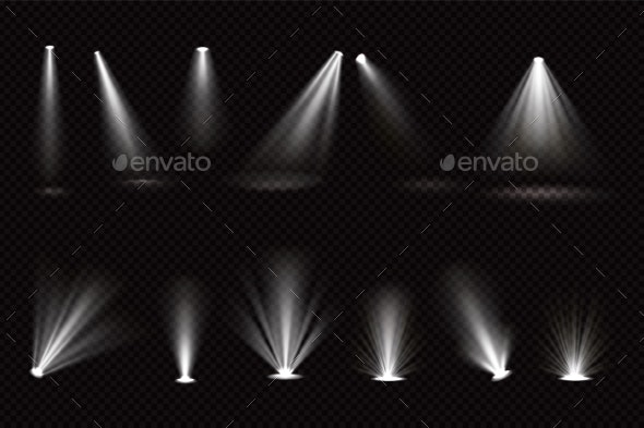 Light Beams From Spotlights and Floor Projectors - Backgrounds Decorative