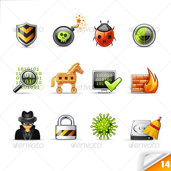 icon set n°14 - web security - infinity series