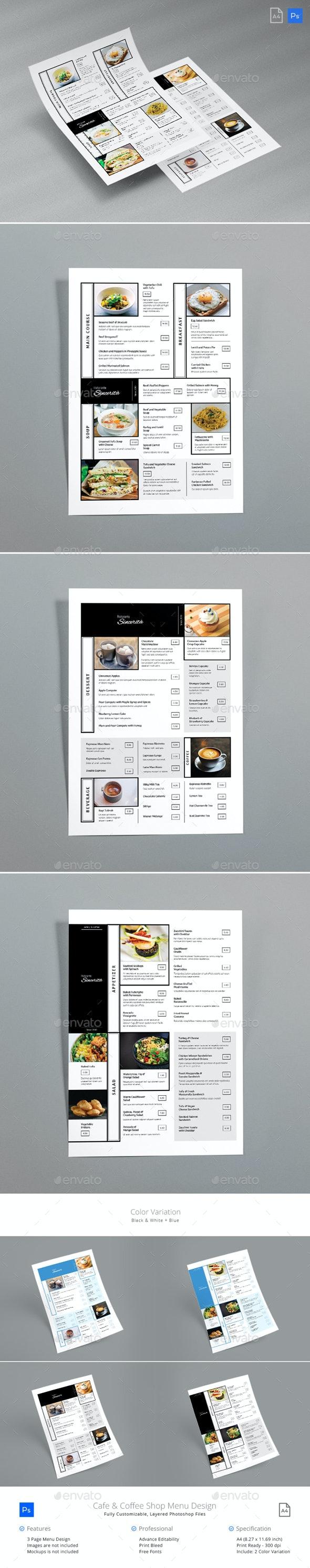 Square Line Cafe Menu - Food Menus Print Templates
