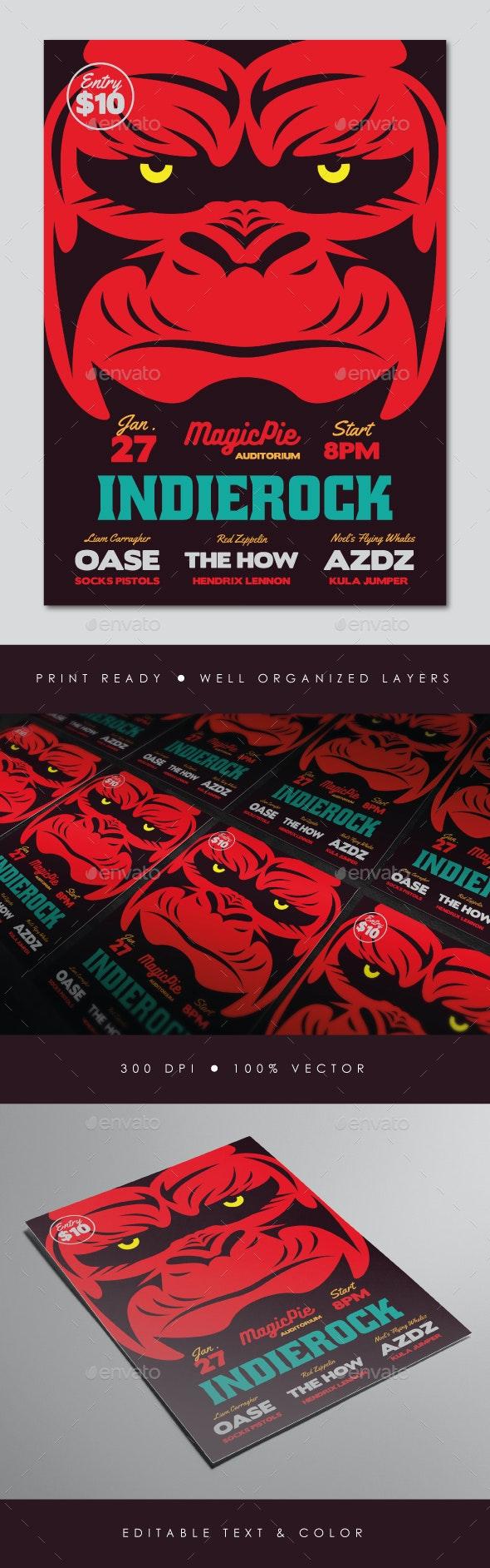 Gorilla Indie Rock Flyer - Concerts Events