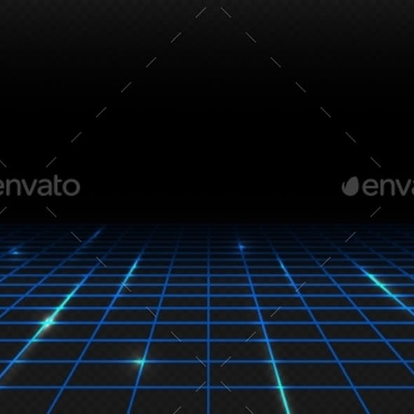 Blue Shine Perspective Grid. Digital Template