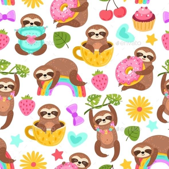 Sloth Pattern. Sleep Animal, Cartoon Sloths Eat