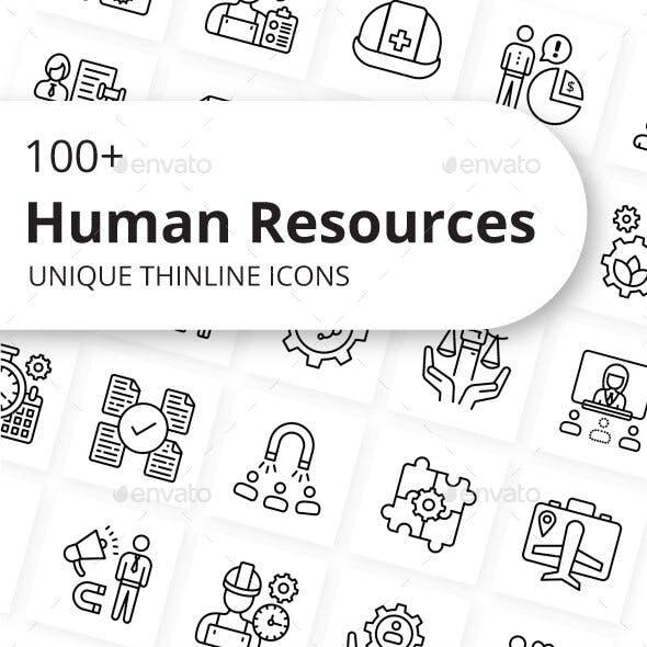 Human Resources Unique Thin Line Icons