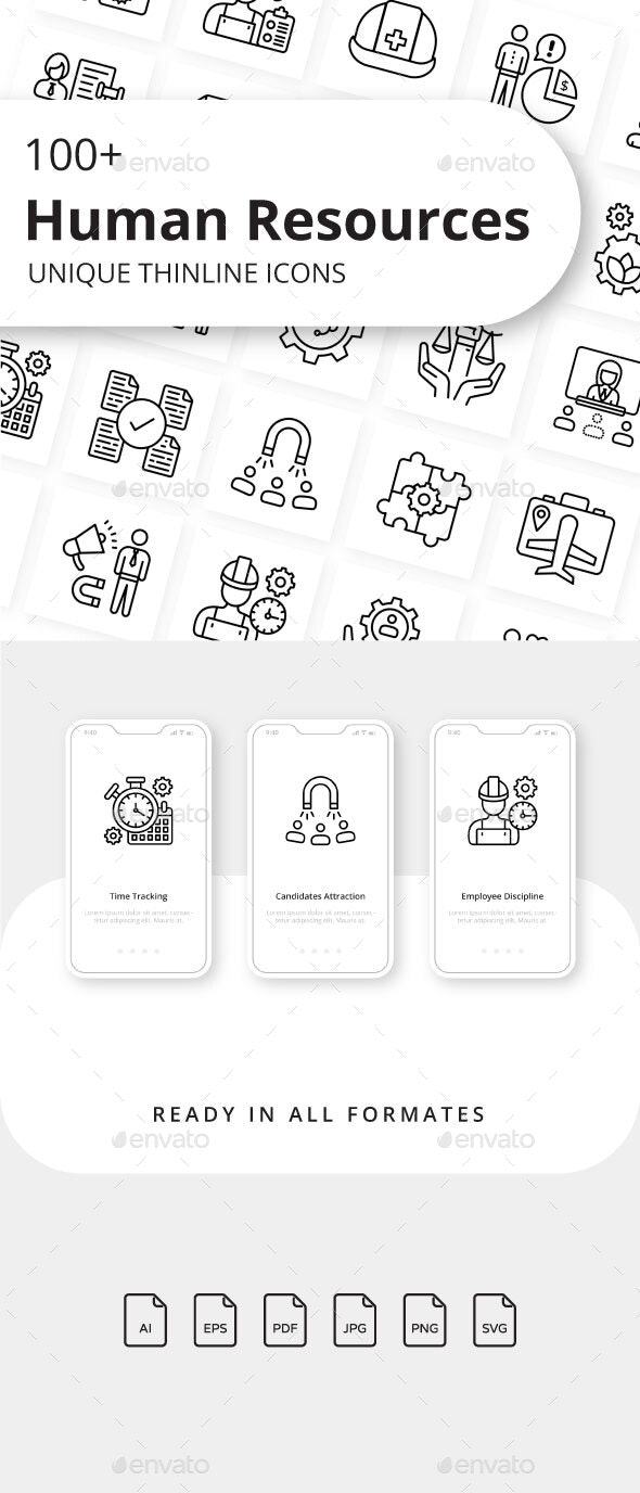 Human Resources Unique Thin Line Icons - Business Icons