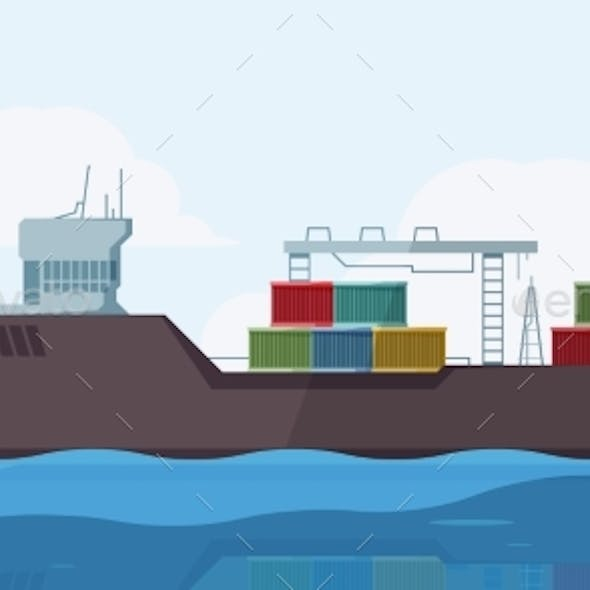 Cargo Ship in Sea. Outdoor Marine Landscape with