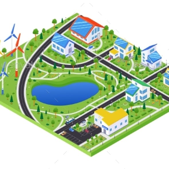 Eco Village - Modern Vector Colorful Isometric