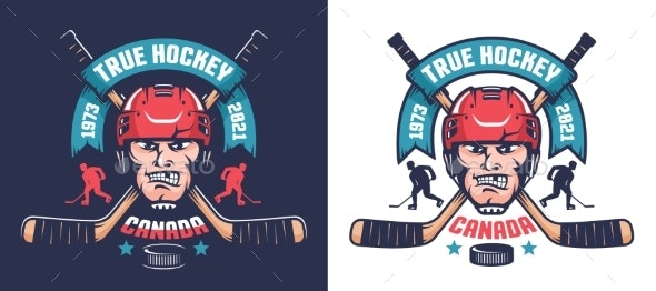 Hockey Team Emblem with Player Head and Crossed - Miscellaneous Vectors