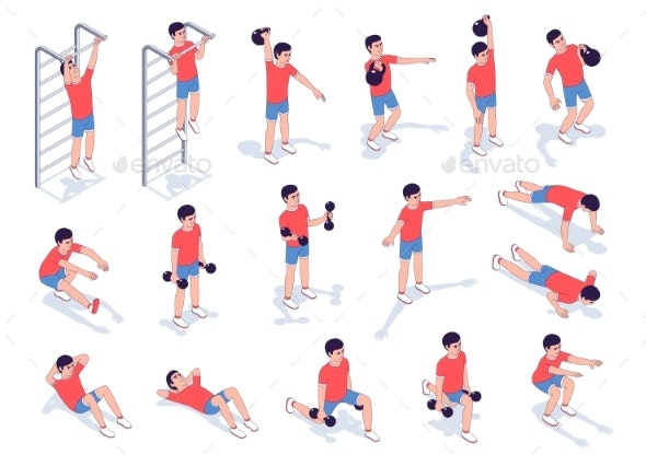 Workout Exercise Set for Men - Vector Isometric - Sports/Activity Conceptual