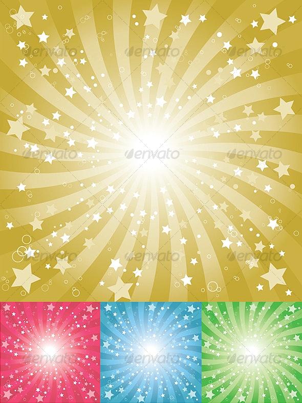 Star Burst Background (4 colors) - Backgrounds Decorative