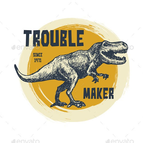 Vintage Typography Tshirt Graphics Trex Face