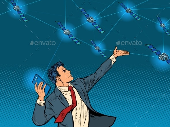 A Businessman with a Smartphone and Global - Technology Conceptual