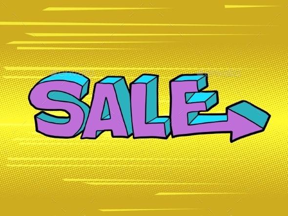 Sale Word Pop Art Style - Miscellaneous Vectors