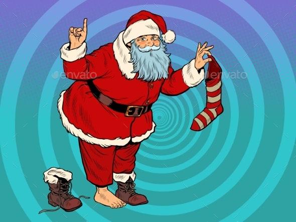 Santa Claus with a Gift Sock. New Year and - Christmas Seasons/Holidays