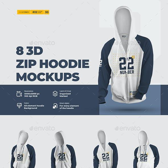 8 3D Zip Hoodie Mockups