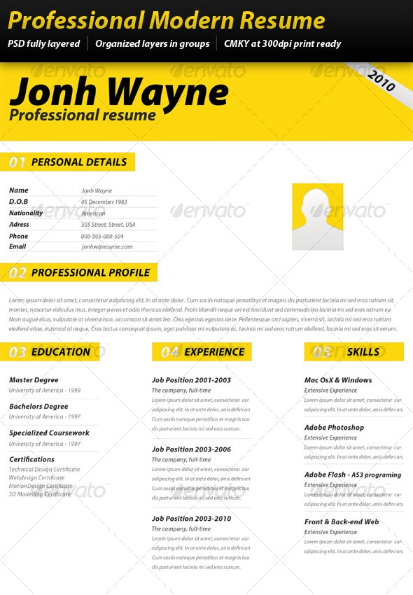 Professional Modern Resume - Resumes Stationery