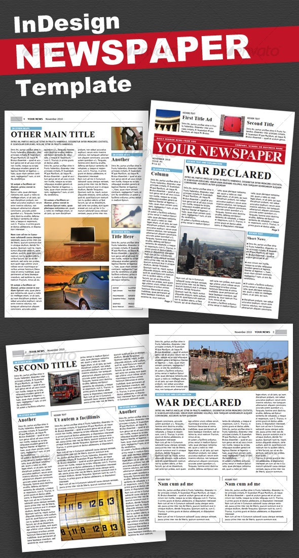 Newspaper 4 Pages - Newsletters Print Templates