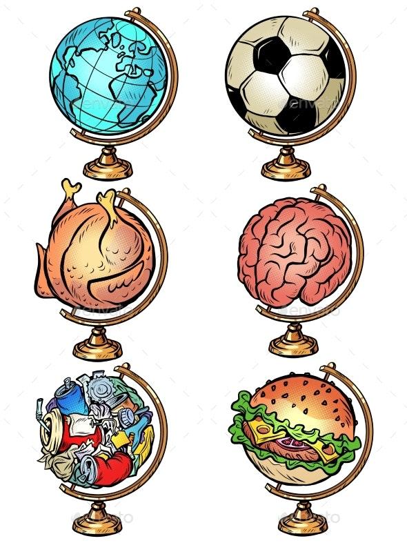 Set Globe Soccer Ball Chicken Food Brain Garbage - Miscellaneous Vectors