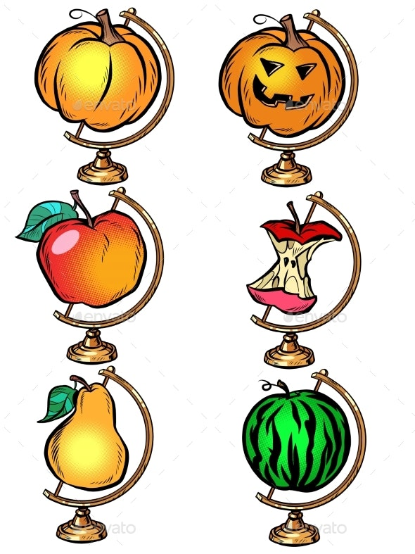 Globe Set Harvest Pumpkin Pear Watermelon Apple - Food Objects
