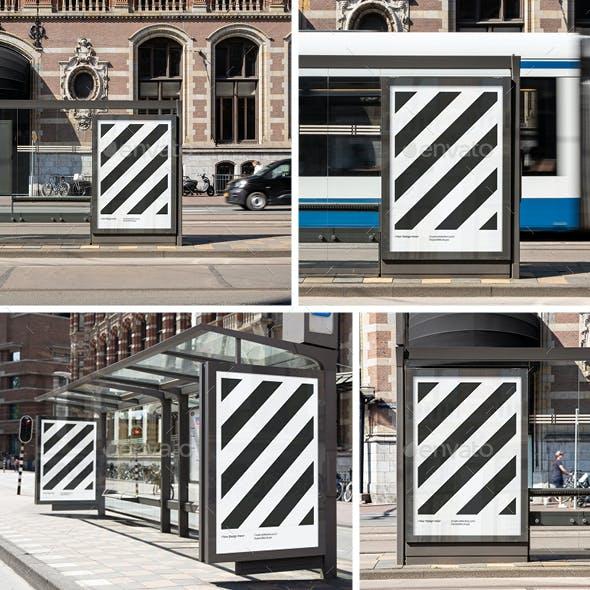 04x Bus Stop Poster Mockup Set