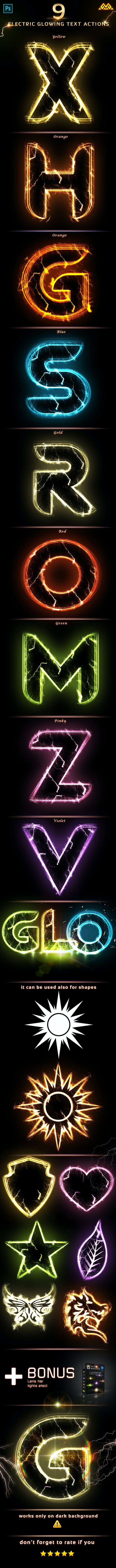 Electric Glowing effect  - Photoshop Action - Text Effects Actions